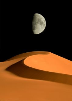 Black Orange Gray White / / Libya, Fezzan, Sahara desert, Akakus, Moon over sand dune by Sergio Pitamitz Desert Dream, Desert Life, Desert Photography, Art Photography, Dune, Mother Earth, Mother Nature, Sun Sisters, Deserts Of The World