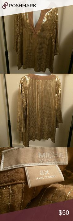 Michael Kors sequin caftan top long sleeves Worn once for a party and dry cleaned. Excellent condition Michael Kors Tops