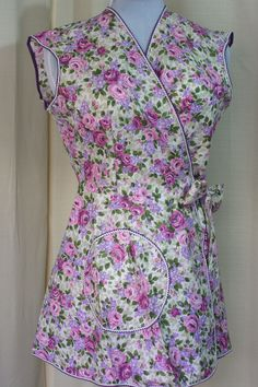 vintage apron wrap around style with pink and purple floral pattern nos