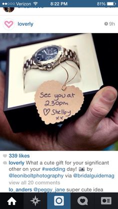 I am getting my future husband a watch on our wedding day.