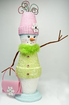 ~` glitzy gloria `~ What a Great idea, from little clay pots! Noel Christmas, All Things Christmas, Winter Christmas, Christmas Ornaments, Snowman Crafts, Christmas Projects, Holiday Crafts, Flower Pot Crafts, Clay Pot Crafts