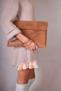 sweater, long socks + clutch