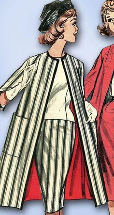 1960s Vintage Butterick Sewing Pattern 9601 Uncut Misses Suit w Long Jacket 32 B