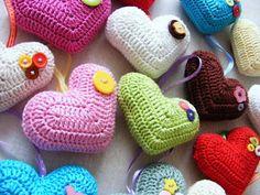 Crochet stuffed heart- Corazones crochet rellenos