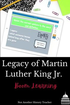 This is a 20 slide interactive boom lesson on Martin Luther King Jr's legacy. Read about how he changed America and left a lasting legacy on the world! There are short answer, matching, and multiple-choice questions. Your students will love it! Perfect for distance learning and MLK Jr. Martin Luther King, Protest, Boycott, segregation, Martin Luther King Jr, Equal rights, equality, non-violent protest #socialstudies #civilrights #history