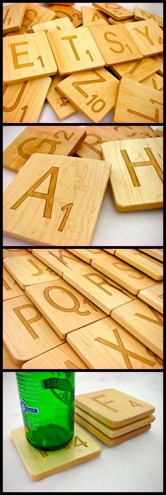 Scrabble Letter Pick Any 4 Letters, Set of 4 Coasters, Solid Maple Coaster, Paul Szewc, Masterpiece Gallery