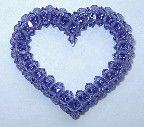 LOVE HEARTS Crystal Open Heart at Sova-Enterprises.com Ooo, this is really pretty! It can be further embellished with seed beads, or a pendant or locket can be suspended in the center. Pattern includes a materials list, life-size photo, diagrams with bi-colored thread paths and captions at the tricky parts, but no unit-by-unit text description or instructions on how to do crossweaving (See #10383 and #9460 if you need crossweaving help).
