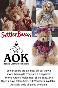 Settler Bears are an ideal gift but they a more than a gift. They are a Keepsake. Phone Orders Welcomed. ☎️ 03 Open 7 days Gift Vouchers available. Australia wide shipping available. Salt Room, Gift Vouchers, Bears, Centre, Emerald, Journey, Teddy Bear, Healing, Australia