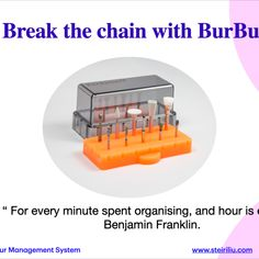 Your dental burs are used every day for most every restorative procedure. Using a systematic approach to organise, clean and present your burs will make life easier, safer and save time for all Dental Supplies, Dental Assistant, Broken Chain, Dentistry, Clinic, Restoration, Organization, Cleaning, Life