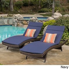 Toscana Outdoor Wicker Adjustable Chaise Lounge with Cushion (Set of by Christopher Knight Home (Brown Wicker with Navy Blue Cushion), Patio Furniture (Polyester) Outdoor Cushions And Pillows, Red Cushions, Lounge Cushions, Chaise Lounges, Outdoor Lounge, Outdoor Living, Outdoor Play, Outdoor Seating, Outdoor Spaces