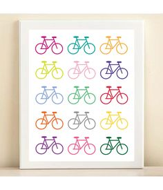 Colorful Bicycle print poster by AmandaCatherineDes on Etsy