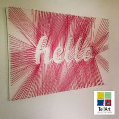 """Girls lets do a string art party, equipped with wine of course""""Hello"""" DIY String Art – DIY Projects-Weekly DIY Ideas: RED DIY Projects String Art Diy, String Art Tutorials, String Art Letters, Nail String, Diy Letters, Crafts To Do, Arts And Crafts, Cuadros Diy, Creation Deco"""