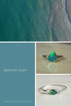 Opal Rings, Gold Rings, Fashion Rings, Fashion Art, Diy Rings Tutorial, Chevron Ring, Rose Quartz Ring, Seaside Style, How To Make Rings