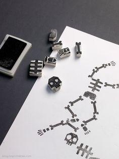 Stamping Skeletons / DIY activity for kids