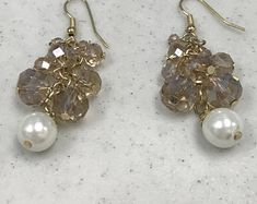 Champagne Cluster Earrings Drop earrings Plated Gold Earrings Peach champagne Round Nuggets Earring Gold Pearl Drop Earring