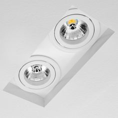 Trimless Double Square Adjustable Downlight 240V White 100W