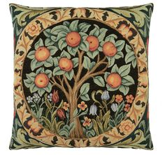 Orange Tree tapestry cushion