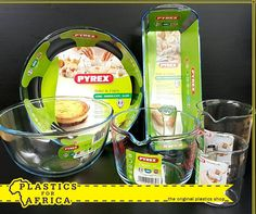 Selected #Pyrex items now in stock at #PlasticsforAfrica, Montague Gardens branch. Visit us today. #cookware