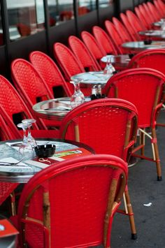 Paris Photo - Red Cafe Chairs in Paris Bistro, Fine Art Photograph, Home Decor Cafe Restaurant, Bakery Cafe, Restaurant Tables, Restaurant Design, Paris Bistro, Cafe Bistro, Paris Chic, Paris Paris, Parisian Cafe