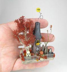 Miniature Spooky Halloween Fairy House Scene in A Graveyard OOAK O'Dare | eBay