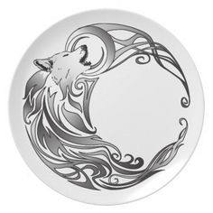 Crescent Moon Tattoo Designs | Tribal Wolf - Shaded Plates from Zazzle ...