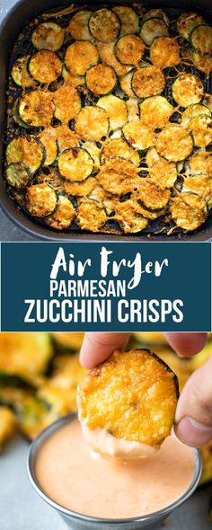 Quick 10-minute air fryer zucchini parmesan rounds are flavorful, crisp, and make a delicious low/carb and keto-friendly snack! You'll be smacking your lips after you taste the fresh zucchini combined with seasonings and delicious parmesan cheese. Zucchini Parmesan Crisps, Squash Zucchini Recipes, Zucchini Side Dishes, Air Fryer Oven Recipes, Air Fryer Dinner Recipes, Appetizer Recipes, Snack Recipes, Keto Snacks, Healthy Snacks