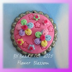 Fimo Flower Blossom Polymer Clay Bottle Cap Bead, Scrapbooking, Bow Center, Pendant, Cupcake topper, Magnet