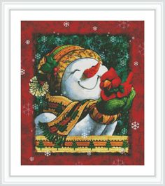 Snowman Counted Cross Stitch Pattern  Large Cross by GCStitchDIY