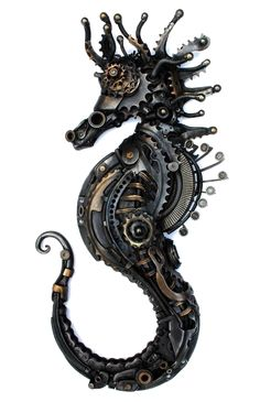 Animals Sculptured with Recycled and Upcycled Metal - Steampunk Seahorse. Animals Sculptured with Recycled and Upcycled Metal. To see more art and inform - Moda Steampunk, Design Steampunk, Viktorianischer Steampunk, Steampunk Kunst, Steampunk Fashion, Steampunk Clothing, Fashion Goth, Steampunk Crafts, Steampunk Gadgets