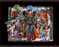 Superman: Earth One - Graphic Novel Book Sculpture - Altered Book - 12x16x2.5 Shadowbox FRAMED