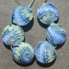 Lampwork beads 142e (6) Lentils BLUE and GREEN