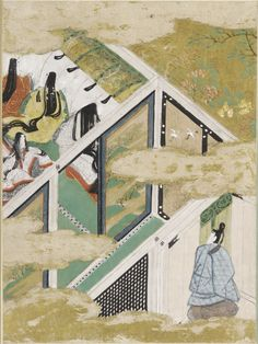 """The Typhoon (Nowaki), Illustration to Chapter 28 of the """"Tale of Genji"""" (Genji monogatari) by TOSA Mitsunobu,  Paintings. A man and several women dressed in heian robes."""