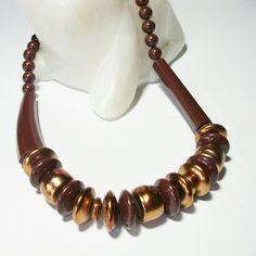 Vintage necklace. Brown and bronze tone acrylic beads. Halskette aus den 80ern in braun und bronze.  Leichtgewicht, da synthetische Perlen.