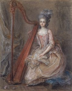 François Guérin (French, 1751-1791). Presumed Portrait of Mme. de Genlis (1746-1830) Playing a Harp, 1791