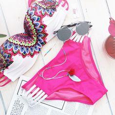 Peacock bikini via My Jewellery / #bikini #pinkbikini #summer #flatlay #peacock