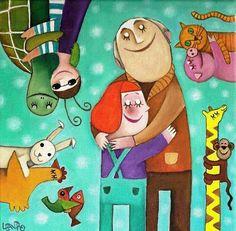 Abrazos - Ilustración de Leandro Lamas