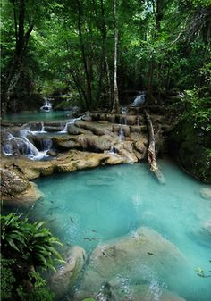 of the most beautiful places I've ever seen! Erawan National Park, Erawan Falls, ThailandOne of the most beautiful places I've ever seen! Places Around The World, Oh The Places You'll Go, Places To Travel, Travel Destinations, Places To Visit, Around The Worlds, Beautiful Places In The World, Beautiful Scenery, Beautiful Life