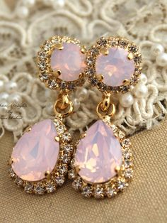 Pink Blush Opal earrings Swarovski chandelier, bridal jewelry,gift for her - 14k gold plated earrings real swarovski rhinestones. Petite delights original design - made with real genuine high quality Austrian Swarovski ©Crystal and Swarovski settings for perfect match and plating. Wonderful piece for parties weddings & other celebrations. Details: Materials - 14k Gold plating over Brass, swarovski rhinestones. The earrings are chandelier Teardrop post earrings the size is 37mm (1.48) Colo...