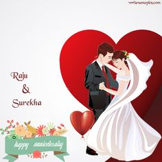 Birthday card maker with phot happy anniversary greeting card with name images. wedding anniversary card wishes with name edit. anniversary wish for beautiful couple greeting card with name pic. Happy Wedding Anniversary Wishes w Marriage Anniversary Cake, Happy Wedding Anniversary Wishes, Anniversary Greeting Cards, 1st Anniversary, Greeting Card Maker, Online Greeting Cards, Birthday Card Maker, Birthday Cards, Day Wishes