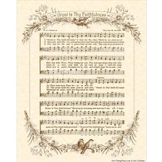 GREAT Is THY FAITHFULNESS  8x10 Antique Hymn Art by VintageVerses
