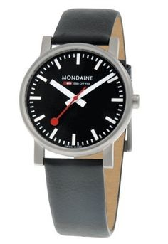 Mondaine - In Stock! - This mens Mondaine Evo watch is a classy affair in muted tones. The black dial features contrasting white baton and hand detail and the strap is in elegant black leather. Gents Watches, Sport Watches, Cool Watches, Watches For Men, Stainless Steel Case, Quartz Watch, Cool Things To Buy, Black Leather, Unisex