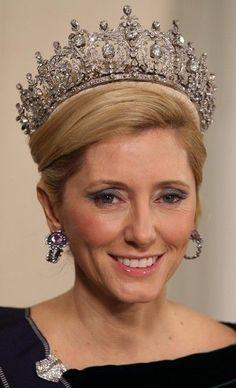 Crown Princess Marie-Chantal of Greece in a major tiara.