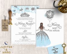 Cinderella Blue Quinceañera Invitation, Quinceanera Invitation, Invitacion de Quinceñera, Blue and Silver, Tiara, Princess DIGITAL FILE by JupiterAndMarsPrints on Etsy https://www.etsy.com/listing/513726020/cinderella-blue-quinceanera-invitation