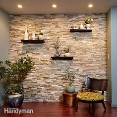 Create a Faux Stone Accent Wall - Cover a wall with stone veneer and transform a room! You can transform any room with a stunning stone accent wall like this. Faux Stone Walls, Stone Accent Walls, Faux Brick, Kitchen Accent Walls, Faux Stone Sheets, Wooden Accent Wall, Tile Accent Wall, Wall Accents, Exposed Brick