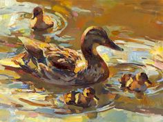 Mother's Day, Painting by Tom Nachreiner Colorful Paintings, Animal Paintings, Art Canard, Duck Art, Watercolor Paintings For Beginners, Mother Art, Nature Artists, Bird Artwork, Sad Art