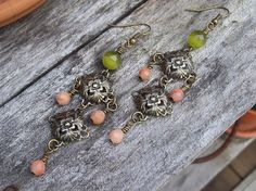Peach Blossom  Aventurine and Cats Eye Gypsy Earrings by Angelof2, $20.00