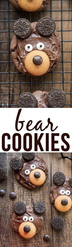 Bear Cookies - These adorable bear cookies are easy to make with a chocolate cookie base, chocolate frosting, 'nilla wafer, m&m candy eyes and mini oreo cookies!: