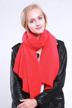 Ladies' thick and warm scarf with soft pleats, by Style Slice, in Red. Warm and elegant winter shawl that can be personalised with a charm or a monogram. Suitable as a gift for anniversary, birthday or any day in which to tell the woman in your life, be it a Mum, Wife, Sister or Girlfriend, that she is special. #scarf #shawl #wrap #scarves #fashion #vintage #handmade #acessories #etsy #gift #pleats #headwrap #ootd