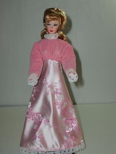 Quality Handmade Pink Brocade & Velvet Vintage Maxi Dress For 11.5 Barbie Doll #MyVirtualDollStore