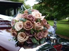 Hand tied bouquet using amnesia and quicksand roses, eucalyptus by gillpikeflorist, Maureen! Dusty Rose Wedding, Rose Wedding Bouquet, Rose Bouquet, Floral Wedding, Wedding Flowers, Gold Wedding, Amnesia Rose, Hand Tied Bouquet, Decoration Design